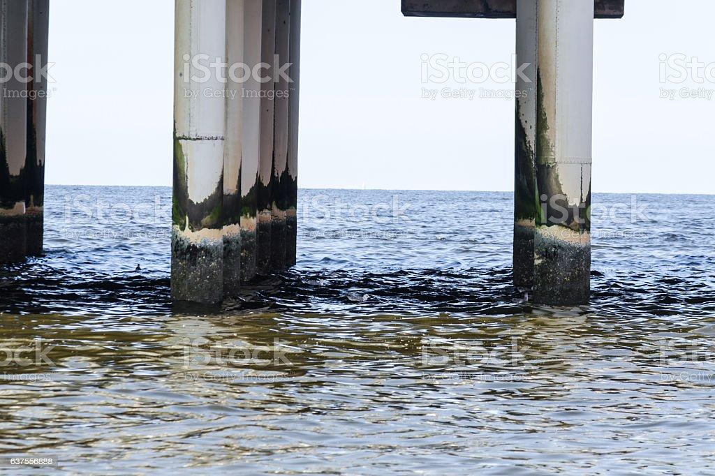 Foundation concrete columns on the pier of Scheveningen stock photo