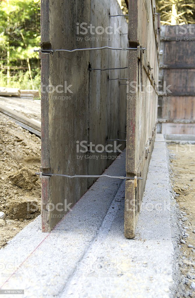 Foundation Construction Forms on Footings royalty-free stock photo