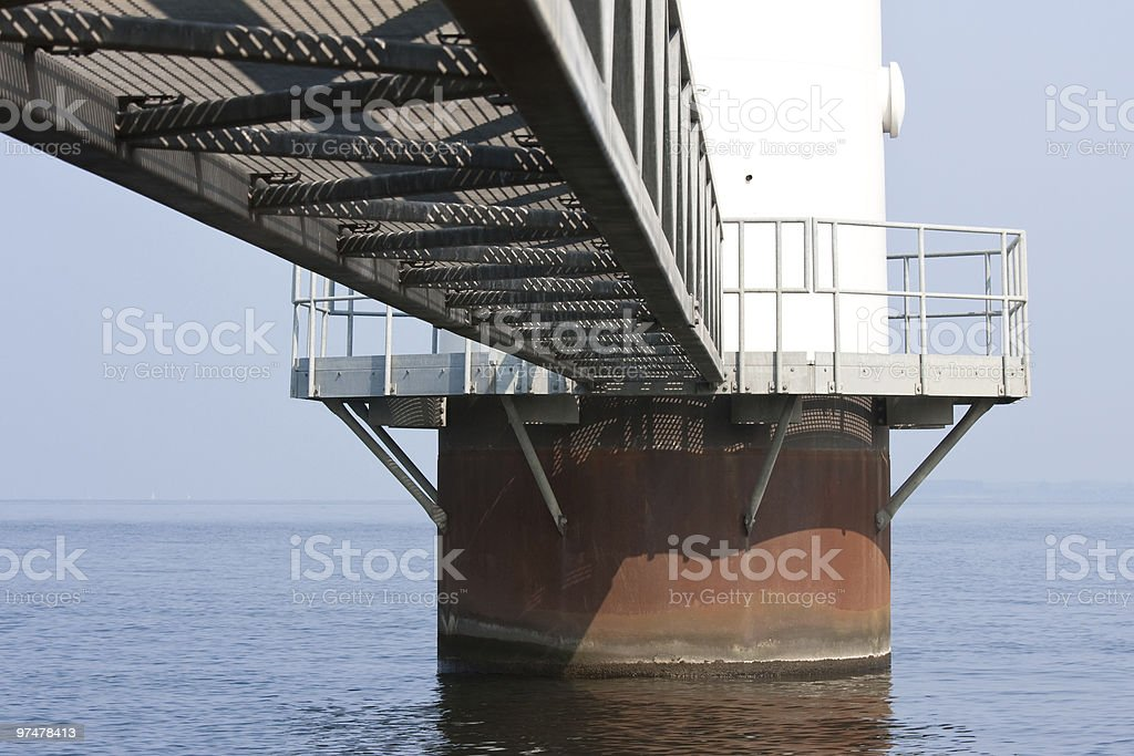 Foundation from a huge windmill standing in the sea stock photo