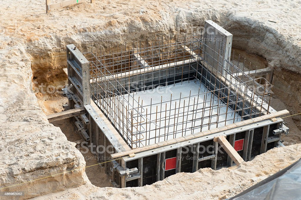 Foundation in the ground - construction stock photo