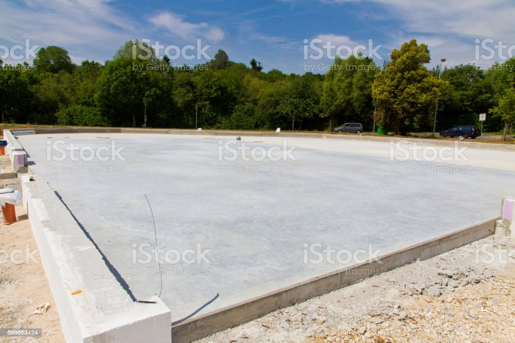 Foundation of a industrial building stock photo