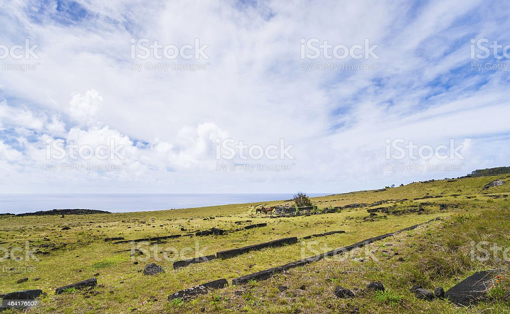 Foundation of Boat House and Stone Chicken Coop, Easter Island royalty-free stock photo