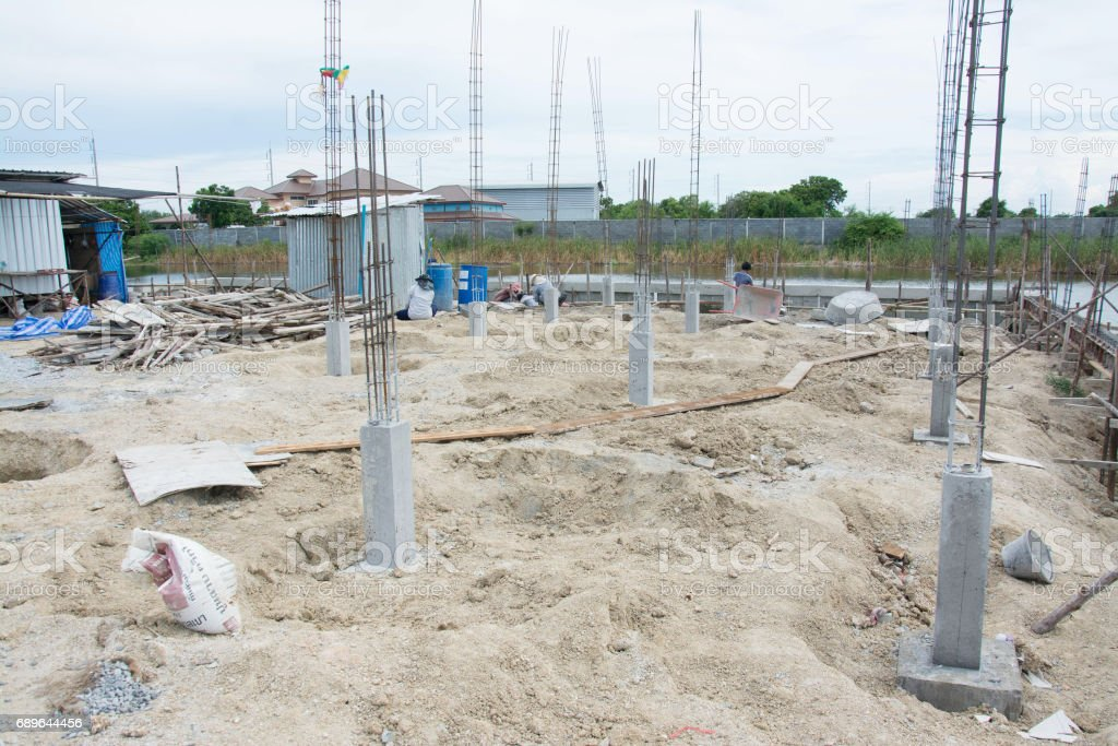 foundation post in construction site stock photo