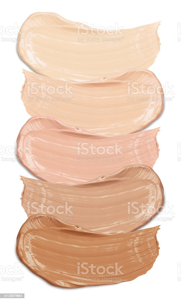 foundation swatches on white stock photo