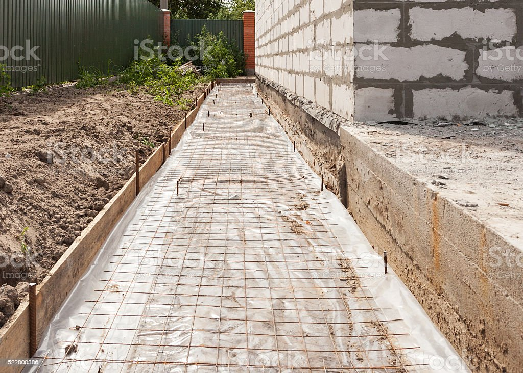 Foundation waterproofing, vapor barrier. Building new house. stock photo