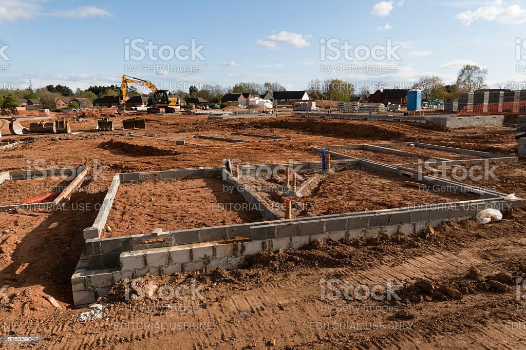 Foundations and some blockwork on a large Exeter construction site stock photo