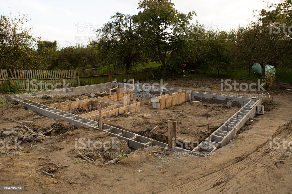 foundations of the house stock photo