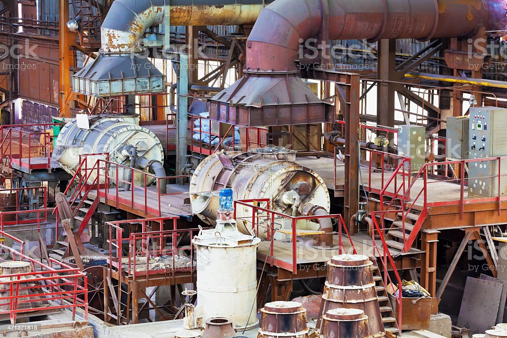 Foundry equipment in casting hangar of metallurgical plant royalty-free stock photo