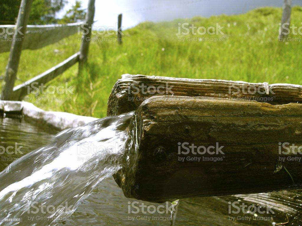fountain, alpine waterfall stock photo