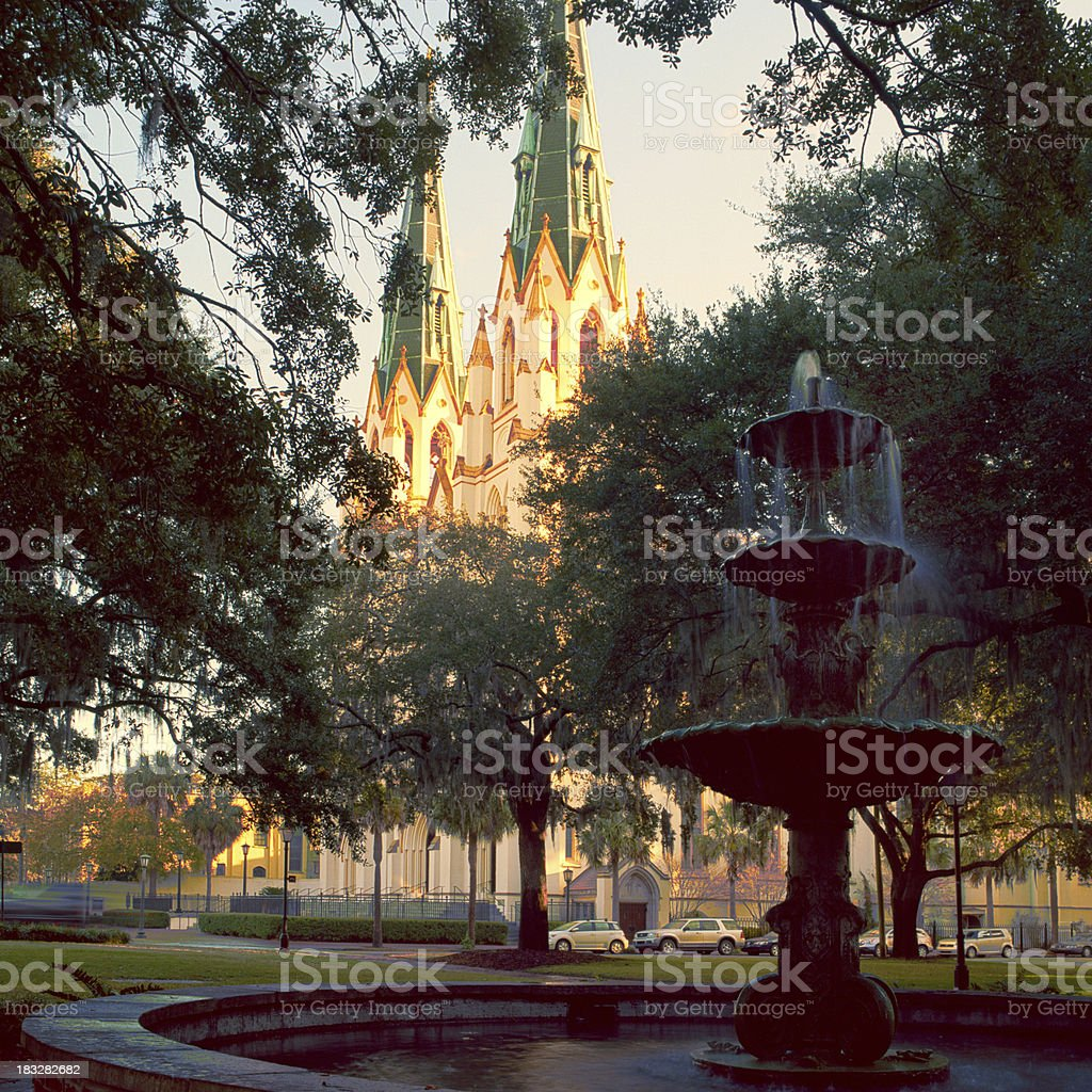 Fountain and Cathedral, Lafayette Square, Savannah royalty-free stock photo