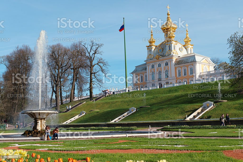Fountain and Grand Palace in Peterhof, St. Petersburg, Russia stock photo