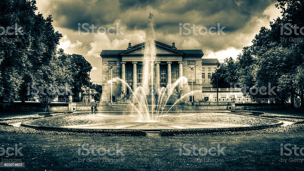 Fountain and Great Theatre in Poznan Poland HDR D stock photo