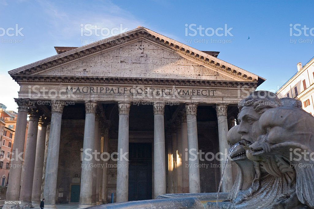 Fountain and Pantheon, Rome stock photo