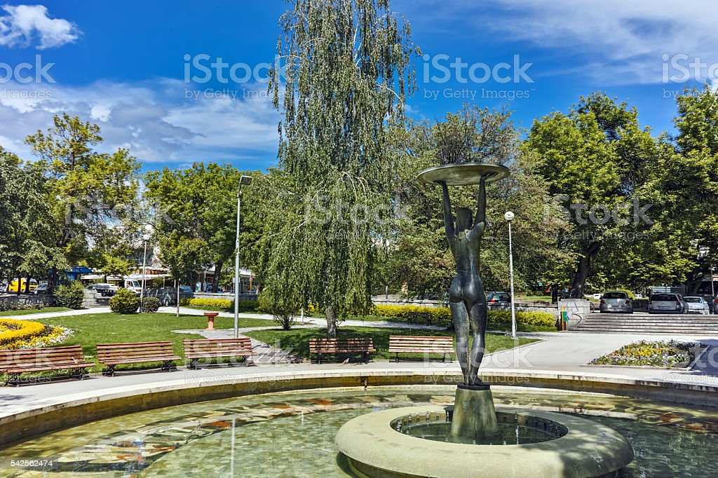 Fountain and park in the center of Hisarya, Bulgaria stock photo