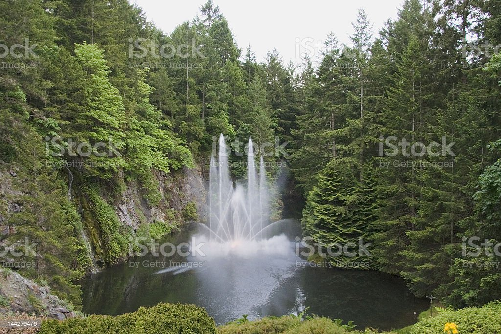 Fountain and Pond in Butchart Gardens royalty-free stock photo