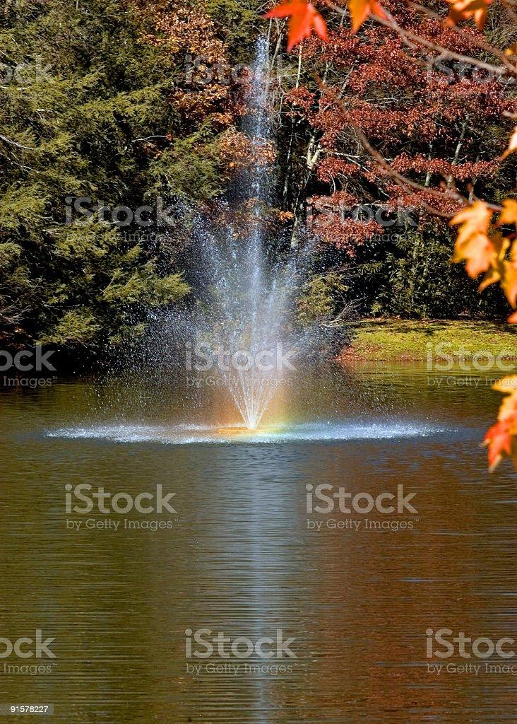 Fountain and Rainbow royalty-free stock photo