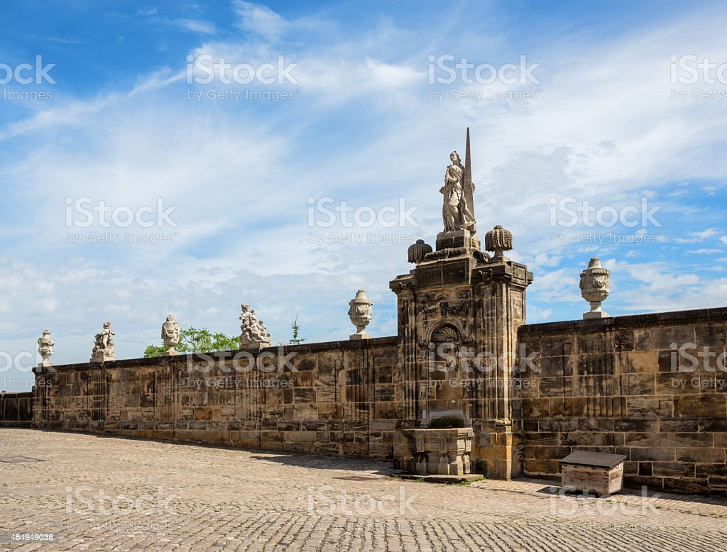 Fountain and sculptures at Domplatz, Bamberg Bavaria Germany stock photo