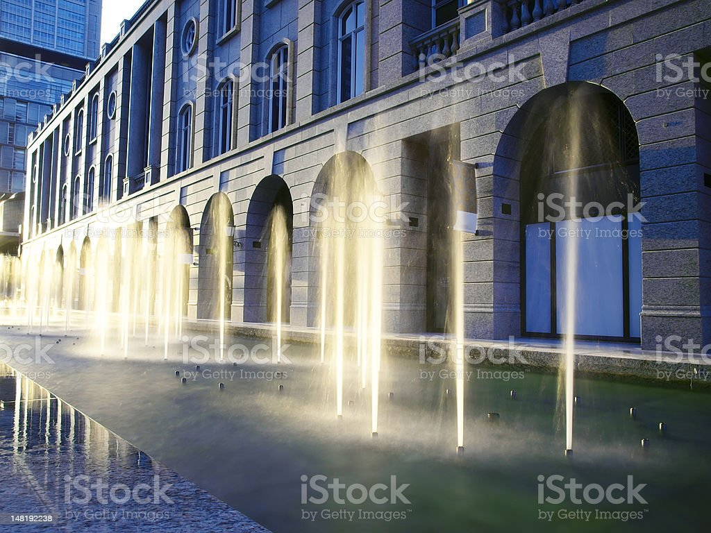 Fountain and sunlight royalty-free stock photo