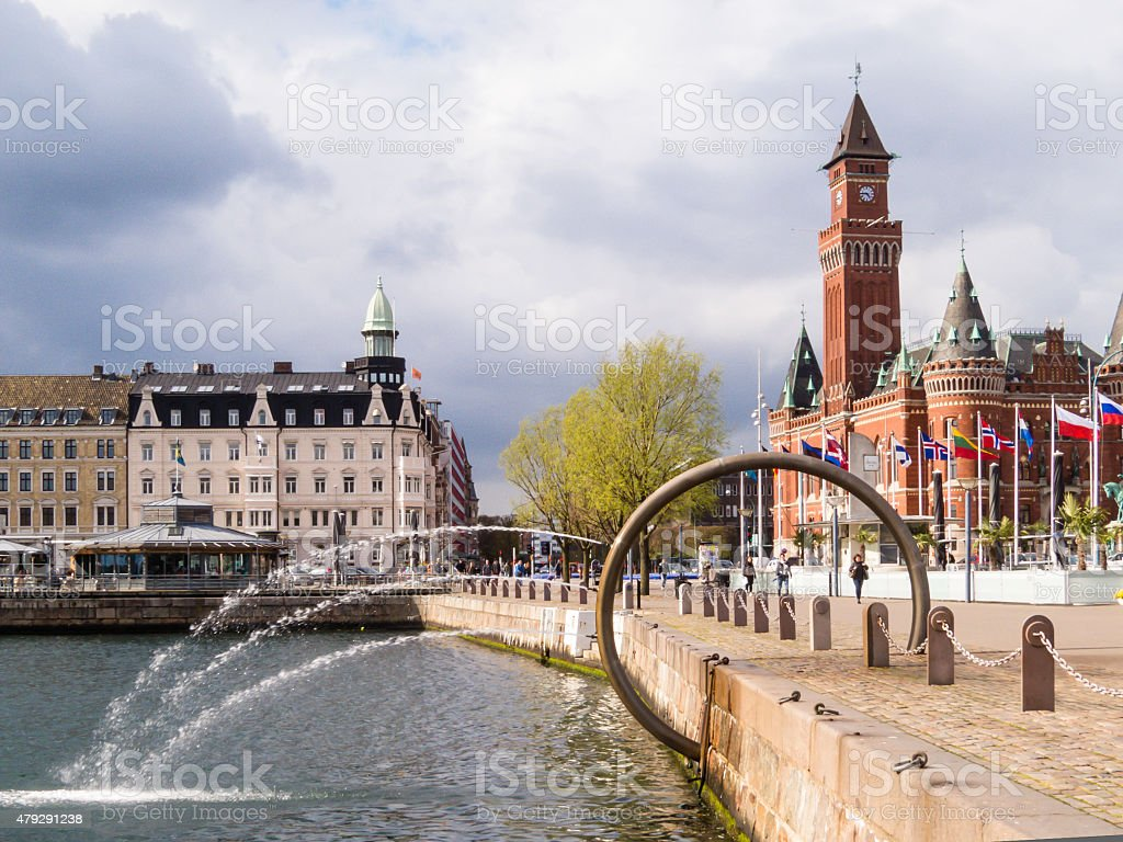 Fountain and Tawn Hall in Helsingborg, Sweden stock photo