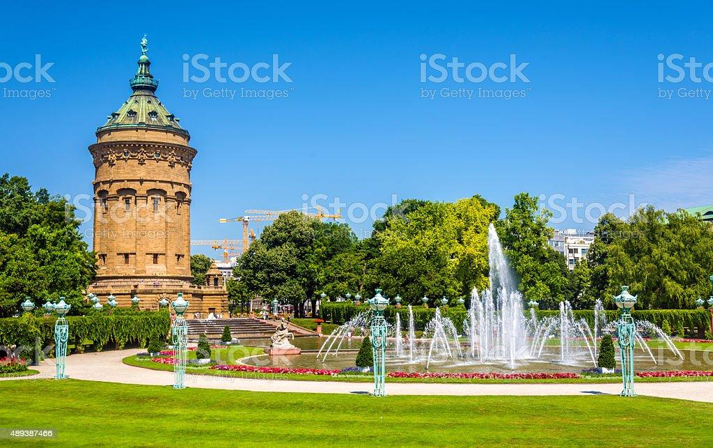 Fountain and Water Tower on Friedrichsplatz square in Mannheim - stock photo