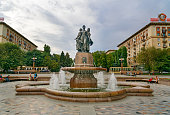 Fountain Art on central embankment in Volgograd
