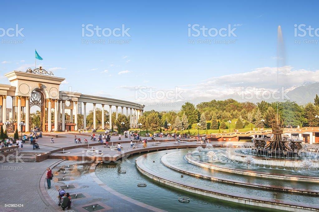 Fountain at Almaty, Kazakhstan stock photo