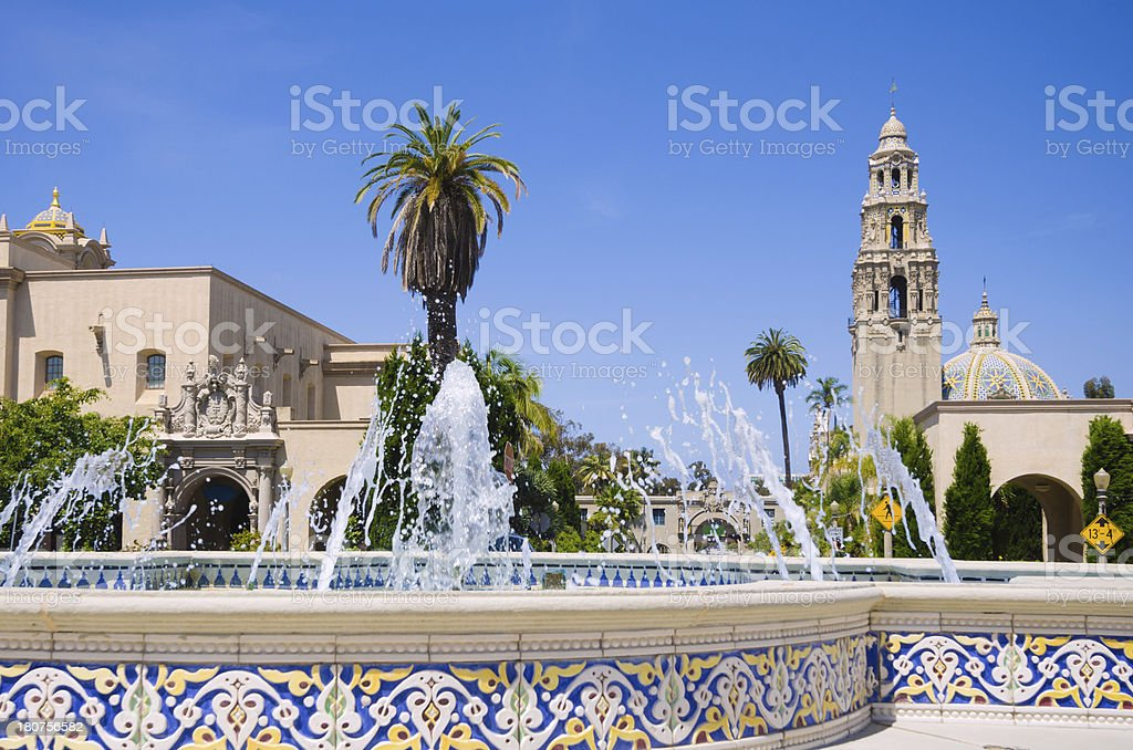 Fountain at Balboa Park with California Tower in the distance stock photo