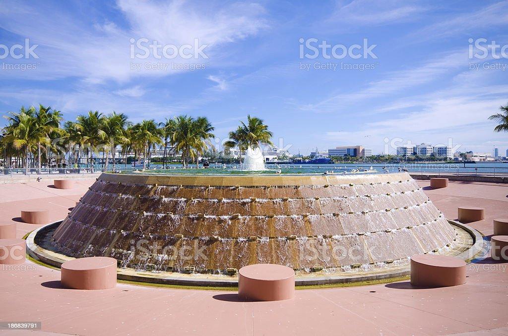 Fountain at Bayfront Park in Miami, FL stock photo