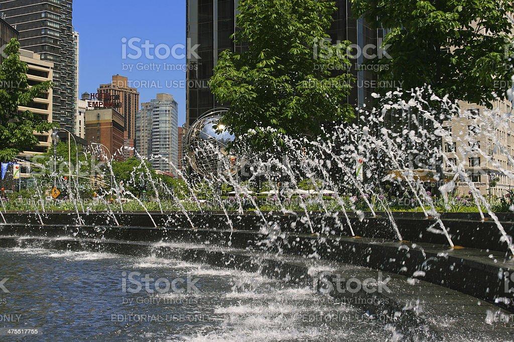 Fountain at Columbus Circle, New York City. stock photo