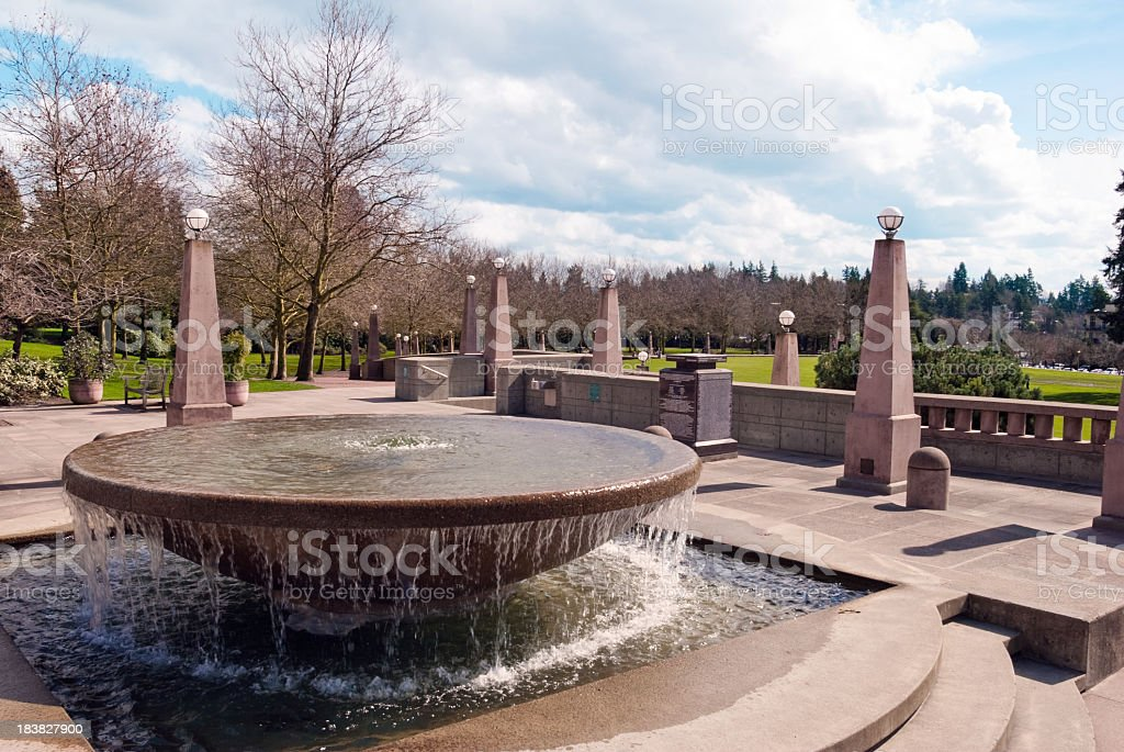 A fountain at Downtown Park in Bellevue Washington stock photo