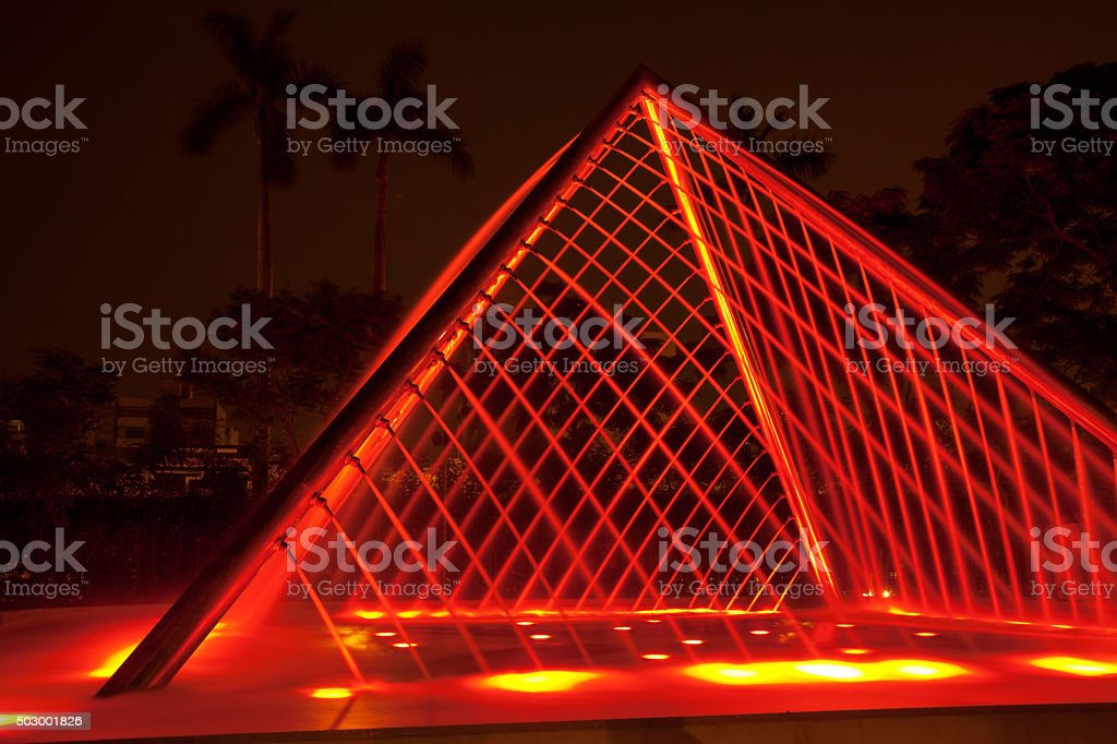 Fountain at night in Park of the Reserve, Lima, Peru stock photo