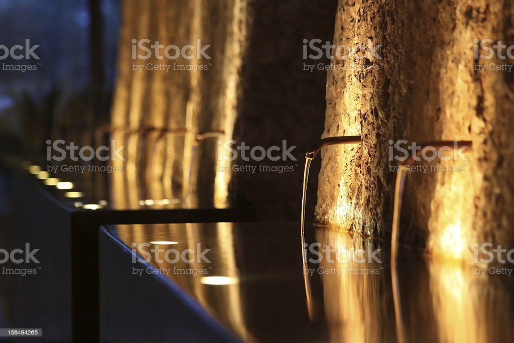 fountain at night, lit atmospherically royalty-free stock photo