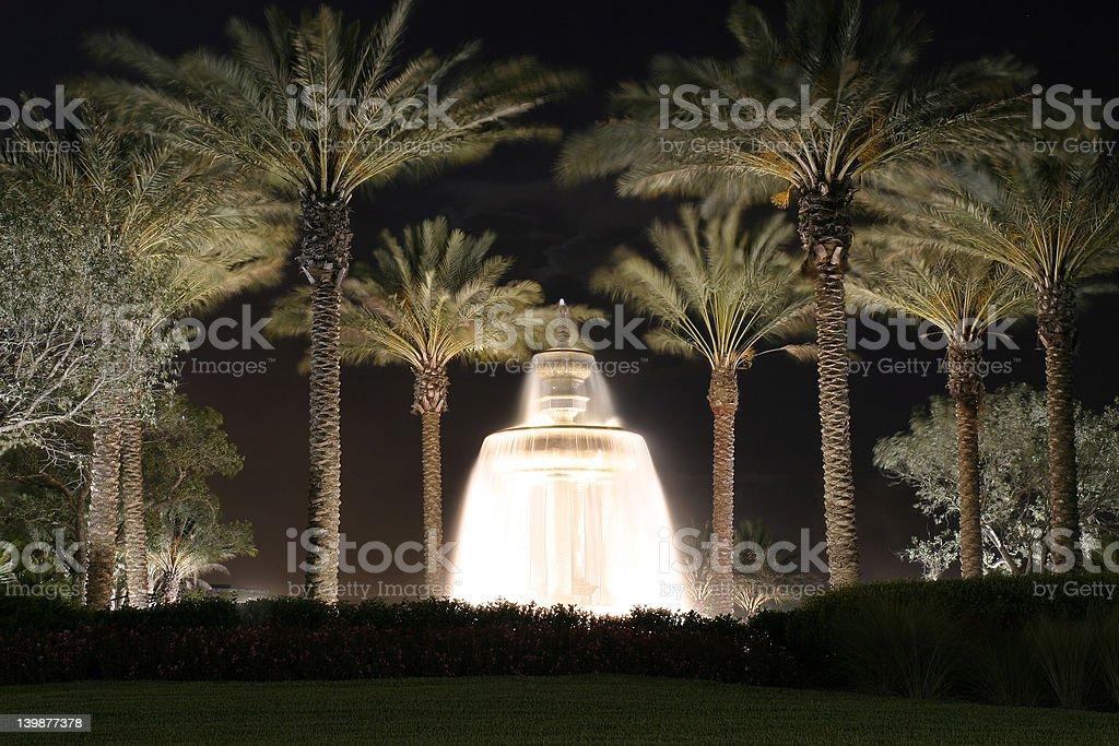 Fountain at night stock photo
