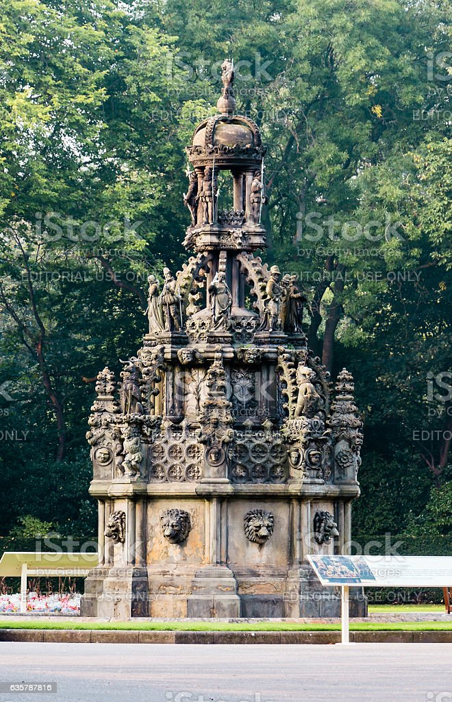 Fountain at Palace of Holyroodhouse's front court in Edinburgh, stock photo