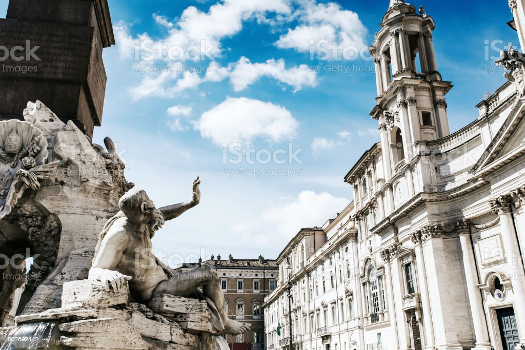 Fountain at Piazza Navona in Rome, Italy. stock photo