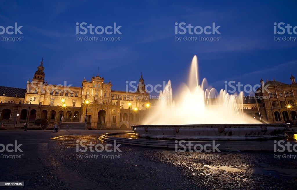 fountain at Plaza Espana in Sevilla royalty-free stock photo