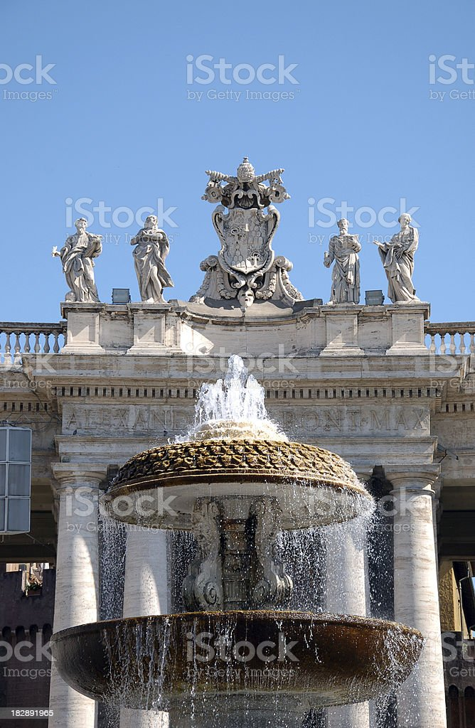 Fountain at St. Peter's Square stock photo
