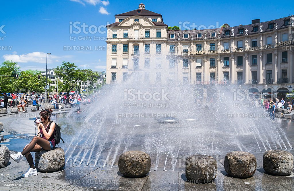 Fountain at Stachus stock photo