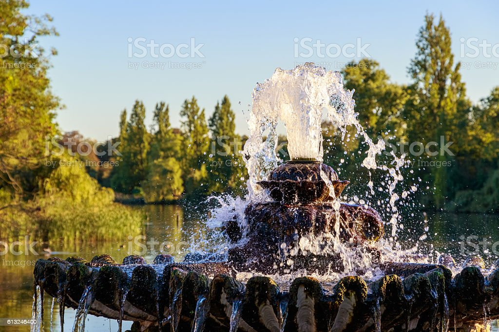 Fountain at The Italian Garden in Hyde Park stock photo