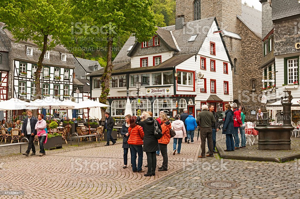 Fountain at the Marketplace of Monschau royalty-free stock photo