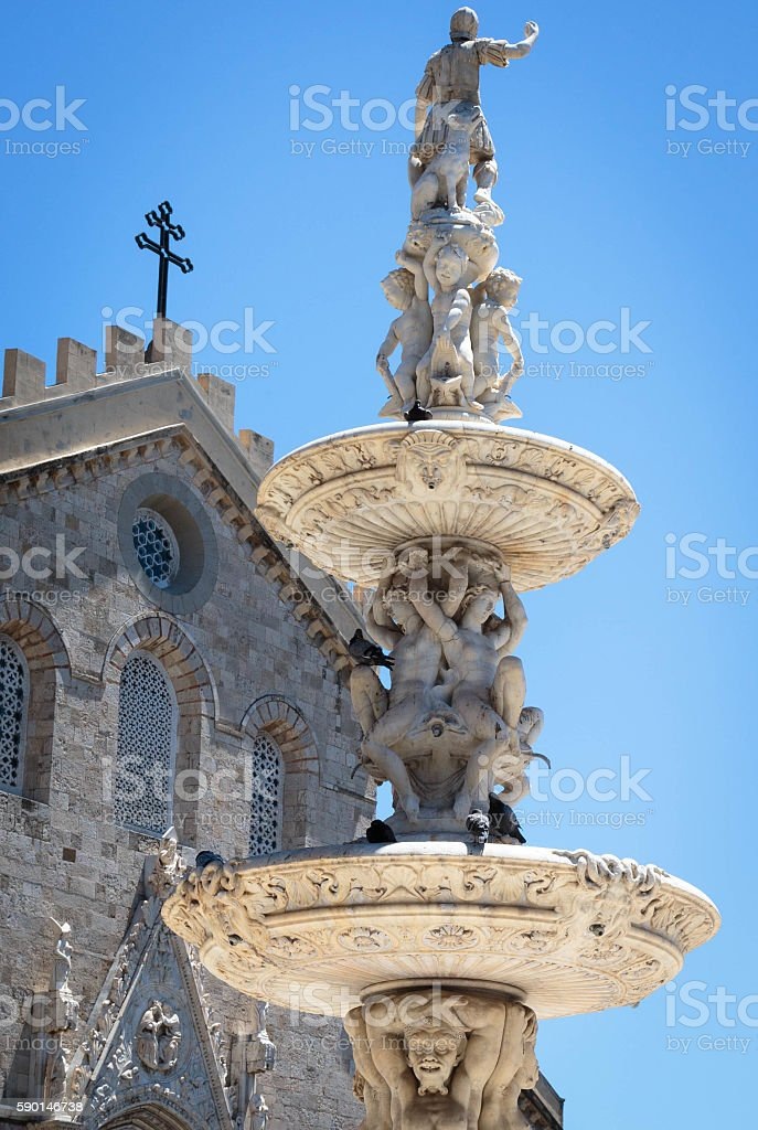 Fountain at the Piazza Duomo in Messina, Italy stock photo
