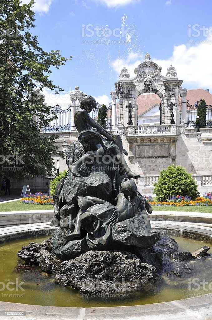fountain at the Royal Palace of Buda, Budapest, Hungary royalty-free stock photo