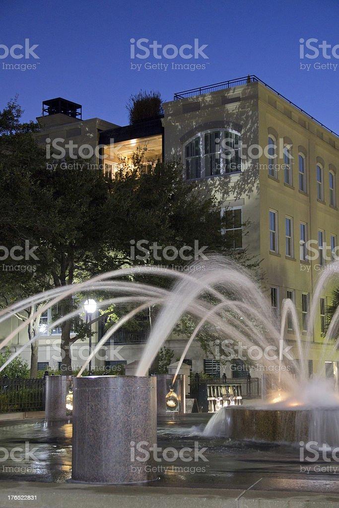 Fountain at Twilight in Charleston, SC royalty-free stock photo