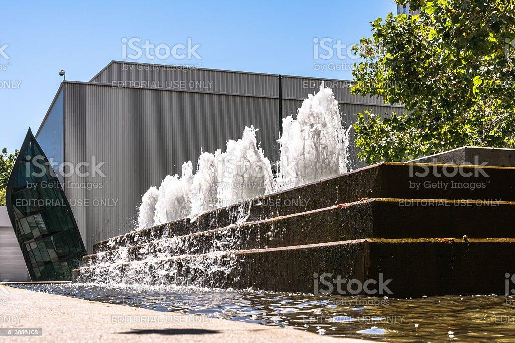 Fountain at Yerba Buena Gardens, San Francisco stock photo