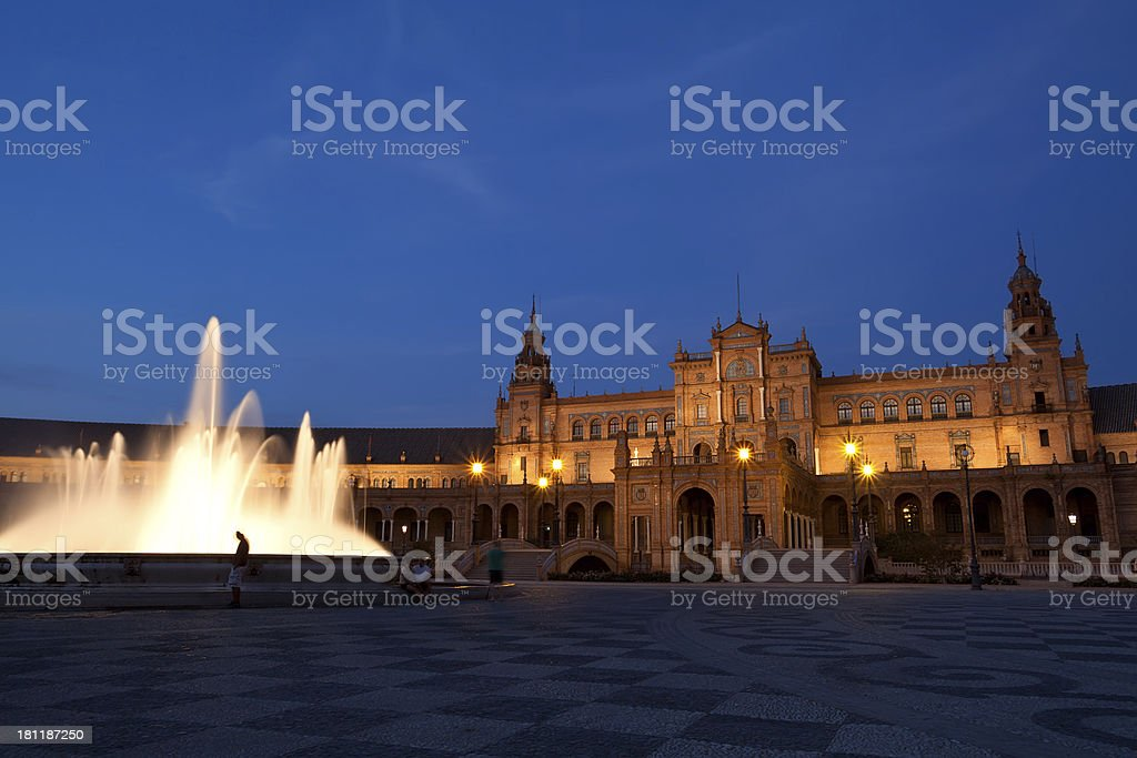 fountain by Plaza de Espana in Seville at night royalty-free stock photo