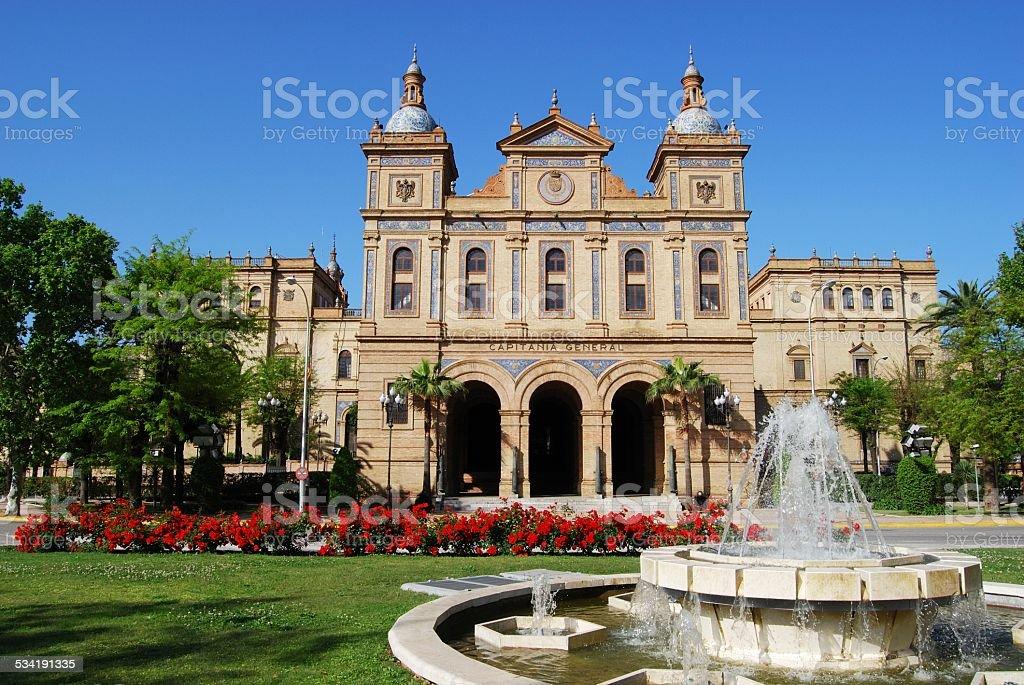 Fountain by Plaza de Espana, Seville. stock photo