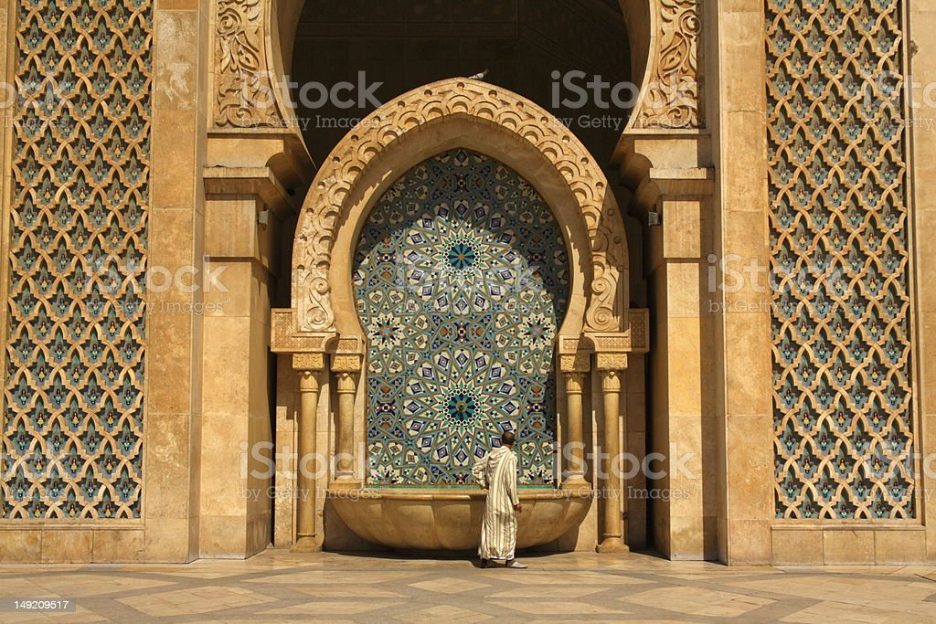 Fountain by the Hassan II Mosque in Casablanca, Morocco stock photo