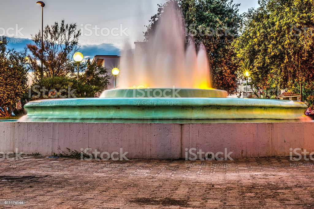 fountain by the sea in Sardinia stock photo