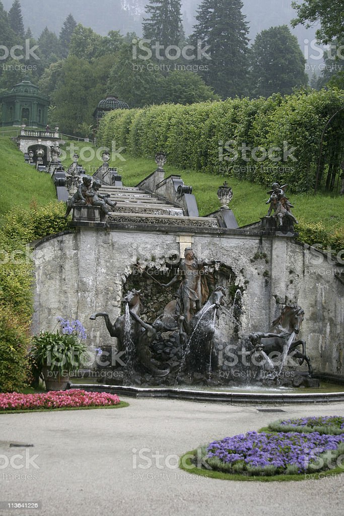 Fountain cascade on the park Linderhof Palace royalty-free stock photo