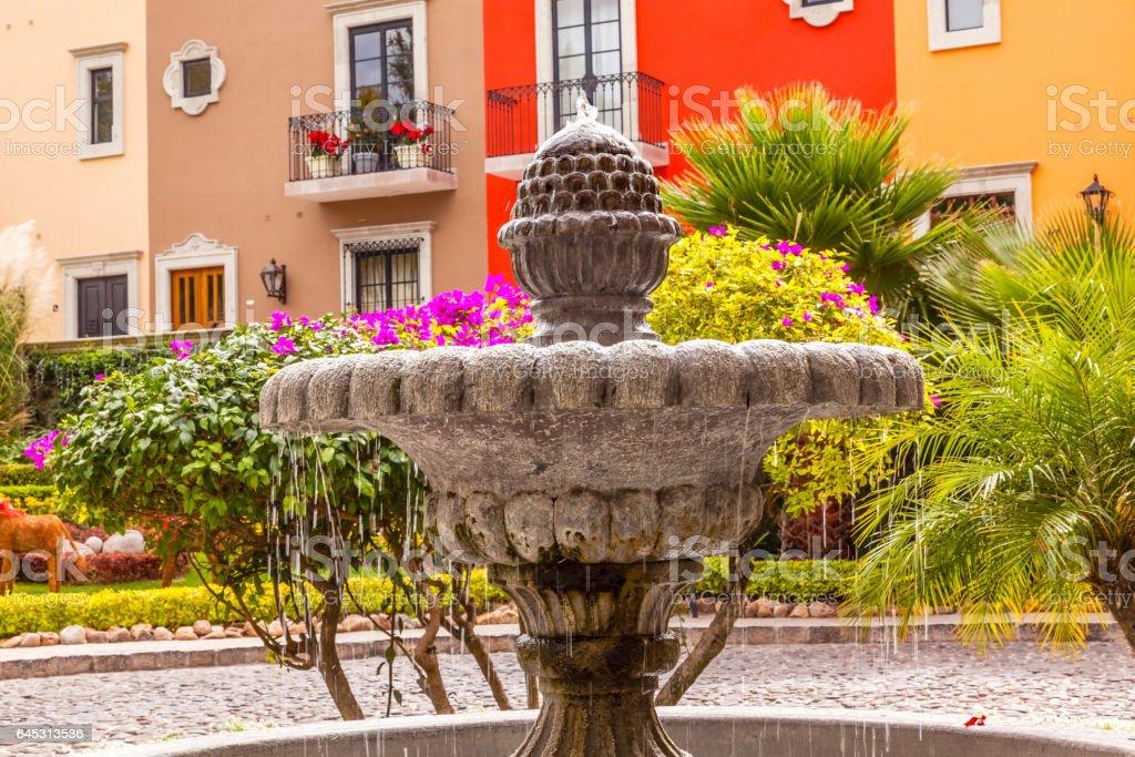 Fountain Colorful Buildings San Miguel de Allende Mexico stock photo